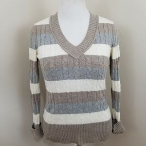ANN TAYLOR LOFT V-NECK COLORBLOCK SWEATER SZ M